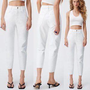 NEW Zara High Waist Mom Fit White Denim Jeans 6